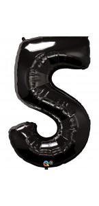 Ballon forme chiffre 5 aluminium noir