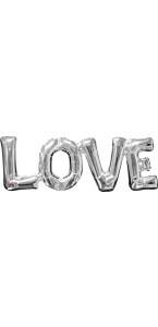 Ballon forme Love argent 63 x 22 cm