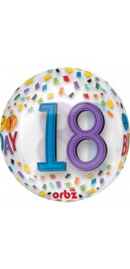 Ballon Happy Birthday 18 Rainbow Clear Orbz 38 x 40 cm