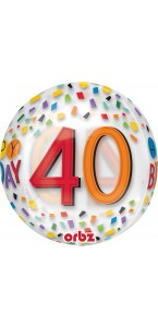 Ballon Happy Birthday 40 Rainbow Clear Orbz 38 x 40 cm