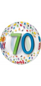 Ballon Happy Birthday 70 Rainbow Clear Orbz 38 x 40 cm