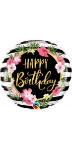 Ballon Happy Birthday Hibiscus 45 cm