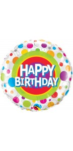 Ballon Happy birthday pois multicolores 45 cm