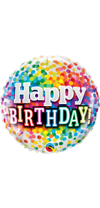 Ballon Happy Birthday Rainbow confettis 45 cm
