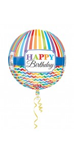 Ballon Happy birthday rayures et chevrons ORBZ 38 x 40 cm