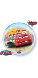 Ballon Joyeux Anniversaire Cars bubble transparent