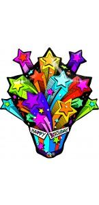 Ballon Joyeux anniversaire feu d'artifice d'étoiles