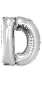 Ballon lettre D aluminium argent