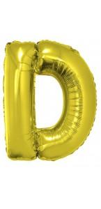 Ballon lettre D aluminium or