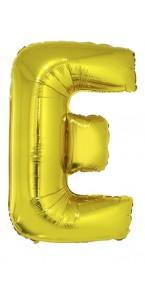 Ballon lettre E aluminium or