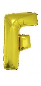 Ballon lettre F aluminium or