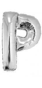 Ballon lettre P aluminium argent