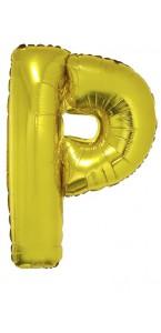 Ballon lettre P aluminium or
