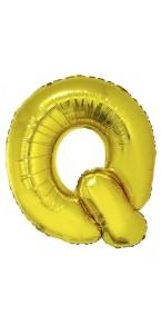 Ballon lettre Q aluminium or