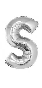 Ballon lettre S aluminium argent