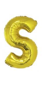 Ballon lettre S aluminium or
