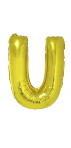 Ballon lettre U aluminium or