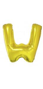 Ballon lettre W aluminium or