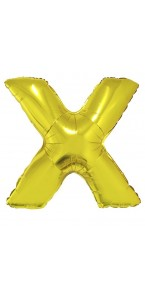 Ballon lettre X aluminium or