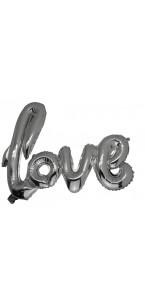Ballon Love argent métal 1m x 67,6 cm