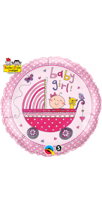 Ballon naissance fille en aluminium rose