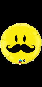 Ballon Smile jaune Moustache 45 cm