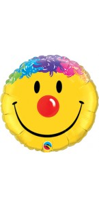 Ballon Smiley avec cheveux aluminium jaune