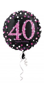 Ballon Sparkling Celebration rose Birthday 40 ans