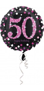 Ballon Sparkling Celebration rose Birthday 50 ans