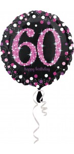 Ballon Sparkling Celebration rose Birthday 60 ans