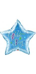 Ballon Welcome baby boy bleu forme étoile 90 cm