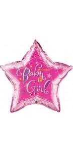 Ballon Welcome baby girl rose forme étoile 90 cm
