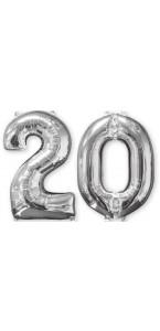 Ballons forme chiffre 20 ans argent