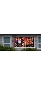Bannière d'extérieur Clown effrayant Halloween 1,65 m x  85 cm