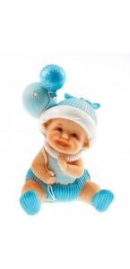 Bébé bleu assis 8,5 x13 cm