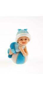 Bébé bleu sur ballon 3,5 x 5,5 cm