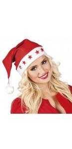 Bonnet Père Noël étoiles avec piles