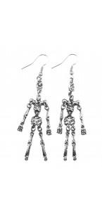 Boucles d'oreilles squelette métal argenté Halloween