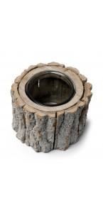 Bougeoir rondin de bois D 15 cm