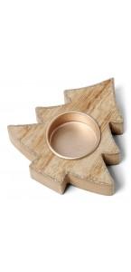 Bougeoir sapin bois cérusé cuivre pailleté