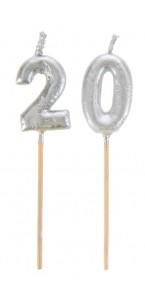 Bougie 20 ans argent sur pic 3,5 x 8 cm