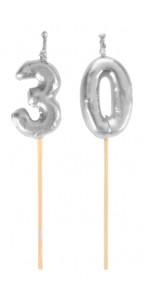 Bougie 30 ans argent sur pic 3,5 x 8 cm