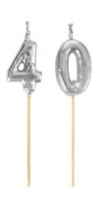Bougie 40 ans argent sur pic 3,5 x 8 cm