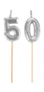 Bougie 50 ans argent sur pic 3,5 x 8 cm