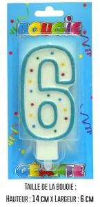 Bougie géante bleue Chiffre 6