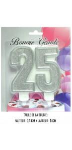 Bougie géante Chiffre 25 argent