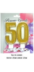 Bougie géante Chiffre 50 or