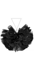 Boule à suspendre film brillant-mat en plastique noir D 36 cm