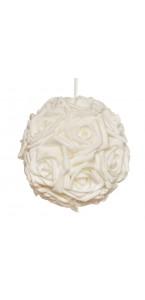 Boule de roses blanches D 19 cm