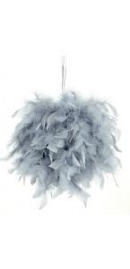 Boule plumes grises à suspendre D 20 cm